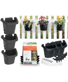 Bloem 3-Pack Hanging Plastic Garden Planter System, Black