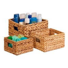 3-Piece Nested Natural Hyacinth Storage Baskets