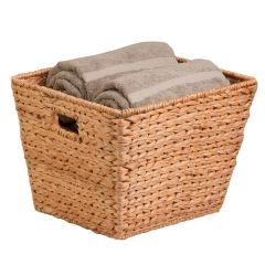 15 in. x 15 in. x 12 in. Square Natural Hyacinth Storage Basket, Large & Tall