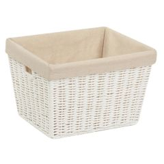 10 in. x 12 in. x 8 in. White Parchment Cord Storage Basket with Liner, Medium