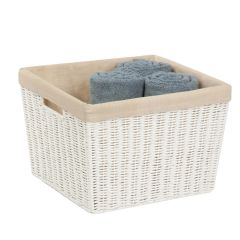 13 in. x 15 in. x 10 in. White Parchment Cord Storage Basket with Liner, Large