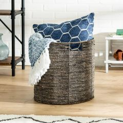 15.75 in. x 15.75 in. Geo Round Woven & Steel-Frame Storage Basket, Large
