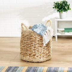 13.4 in. x 13.4 in. Tea Stained Round Woven Storage Basket, Medium