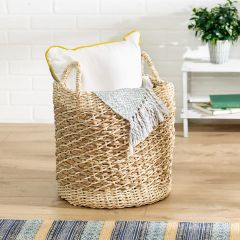 15.75 in. x 15.75 in. Tea Stained Round Woven Storage Basket, Large