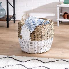 14 in. x 12 in. Natural/White Seagrass Round Storage Basket with Handles, Medium