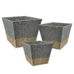 3-Piece Square Nested Natural/Gray Seagrass Storage Baskets