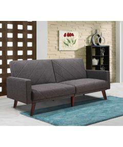 Split Back Gray Linen Fabric Futon Sofa Bed