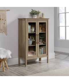 Anda Norr Display Cabinet with Glass Panel Doors, Sky Oak