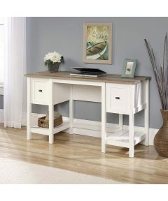 Cottage Road Desk with 2 Drawers & 2 Storage Shelves, Soft White