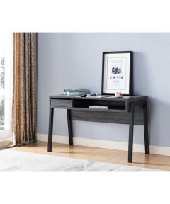 Office Desk with Drawer / Cubby / Outlet & USB Port, Distressed Grey & Black