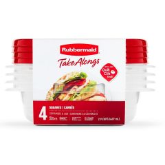Rubbermaid TakeAlongs 4-Pack 2.9 Cup Squares Food Containers with Lids