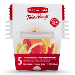 Rubbermaid TakeAlongs 5-Pack 2.1 Cup Mini Deep Squares Food Containers with Lids