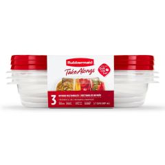 Rubbermaid TakeAlongs 3-Pack 3.7 Cup Divided Rectangles Food Containers with Lids