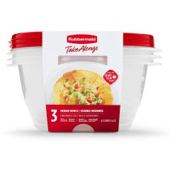 Rubbermaid TakeAlongs 3-Pack 6.2 Cup Medium Bowls Food Containers with Lids