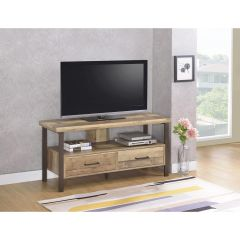 48 in. TV Console with 2-Drawers, Weathered Pine