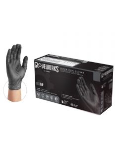 Ammex Gloveworks Large Black Vinyl Powder-Free Gloves, 100 Count