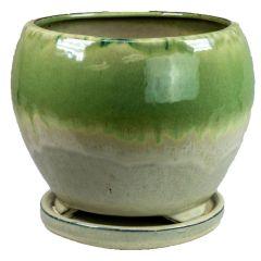 Geobunga 8 in. Diameter Ceramic Planter Pot, Spring Green