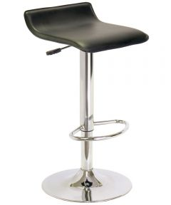 Black Faux Leather & Chrome Adjustable Swivel Stool