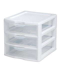 Sterilite 3 Drawer Mini Storage Unit, Clear