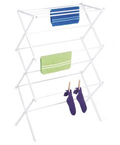 White Wire Folding Clothes Drying Rack