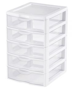 Sterilite Small 5 Drawer Storage Unit, Clear/White