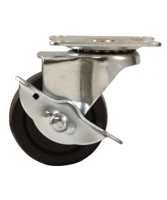 3 in. Rubber Plate Swivel Caster With Brake