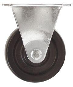 4 in. Black Rubber Plate Rigid Caster
