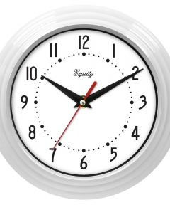 8 in. White Frame Round Quartz Wall Clock
