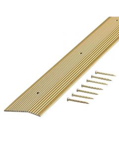 2 in. x 36 in. Satin Brass Fluted Extra Wide Carpet Trim