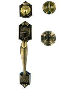 Schlage Parthenon Single Cylinder Handleset and Georgian Door Knob, Antique Brass