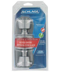 Schlage Bell Keyed Entry Door Knob, Satin Chrome