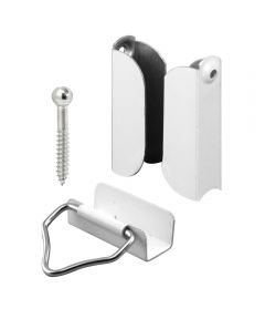 Prime-Line 7/16 inch Screen Top Hangers & Bottom Latches,  Aluminum, White, 2 Sets per card