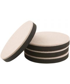 5 in. Oatmeal Round Felt Bottom Furniture Sliders, 4 Count