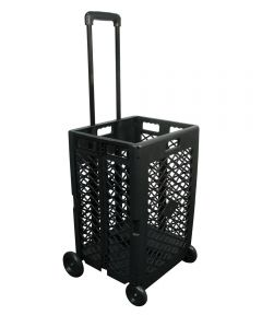 24.25 in. L x 17.72 in. W x 15.75 in. Black Mesh Wheeled Cart