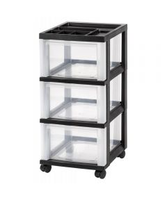 3-Drawer Cart with Organizer Top, Black