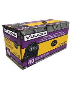 Vulcan 33 Gallon Heavy Duty Trash Bags, 40 Count