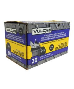 Vulcan 42 Gallon 3 Mil Heavy Duty Contractor Trash Bags with Ties, Black, 20 Count