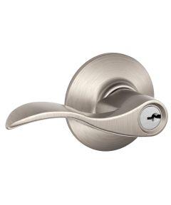 Schlage Accent Keyed Entry Door Lever, Satin Nickel