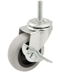 3 in. Grey Rubber Caster With Brake