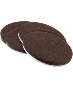 3 in. Brown Round Self-Stick Felt Pads 4 Count