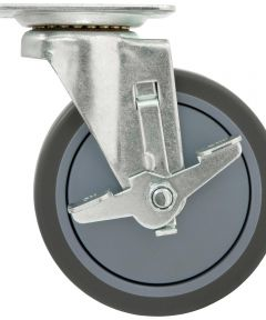 5 in. Grey Rubber Swivel Caster With Brake