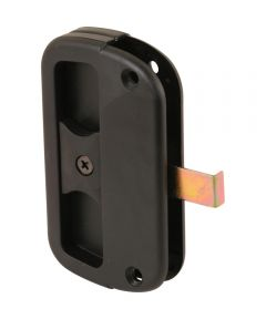 A 186 Sliding Screen Door Handle & Latch, Black Plastic, Sliding Steel Latch