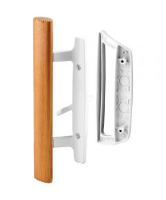 C 1204 Patio Door Mortise Style Handle, White Diecast with Wood Handle, Outside Pull, 1 Pack