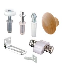 Bi-Fold Door Repair Kit, Pivots, Brackets, Guide, Knob and Snugger, 1 set per package