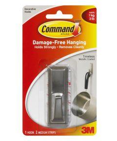 Medium Brushed Nickel Command Timeless Hook