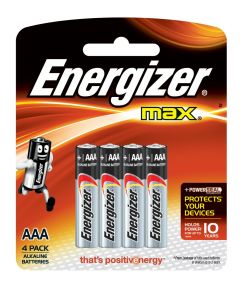 Energizer Max AAA Alkaline Battery, 4 Pack