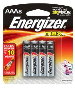 Energizer Max AAA Alkaline Battery, 8 Pack