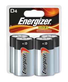 Energizer Max D Alkaline Battery, 4 Pack