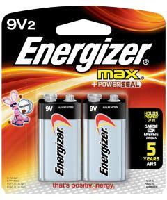 Energizer Max 9V Alkaline Battery, 2 Pack