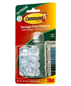 Command Clear Outdoor Light Clips with Command Adhesive Strips, 16 Count